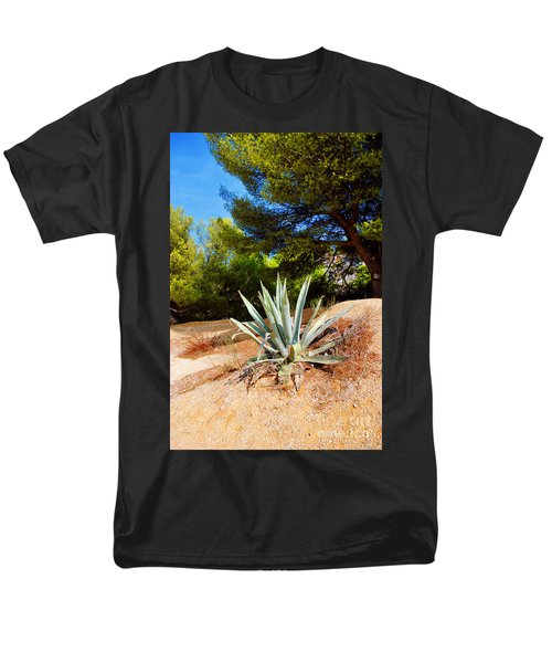 Men's T-Shirt  (Regular Fit) featuring the photograph Cactus On A Rocky Coast Of French Riviera by Maja Sokolowska