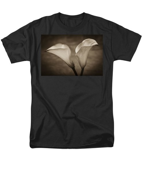 Men's T-Shirt  (Regular Fit) featuring the photograph Calla Lilies In Sepia by Sebastian Musial