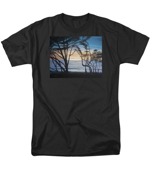 Men's T-Shirt  (Regular Fit) featuring the painting Cambria Cypress Trees At Sunset by Ian Donley