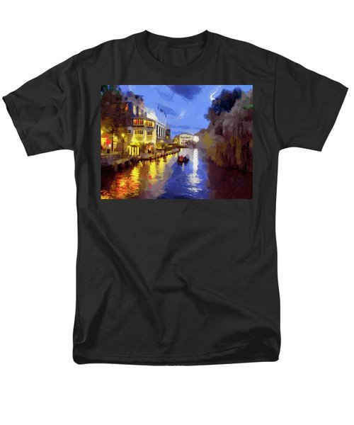 Men's T-Shirt  (Regular Fit) featuring the painting Water Canals Of Amsterdam by Georgi Dimitrov