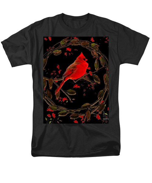 Cardinal On Metal Wreath Men's T-Shirt  (Regular Fit) by Janette Boyd