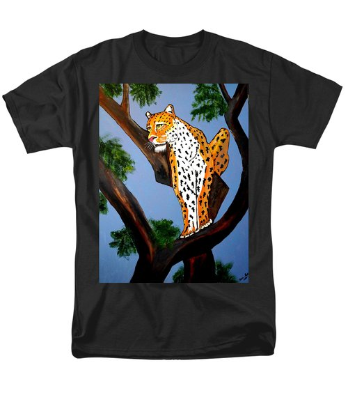 Cat On A Hot Wood Tree Men's T-Shirt  (Regular Fit) by Nora Shepley