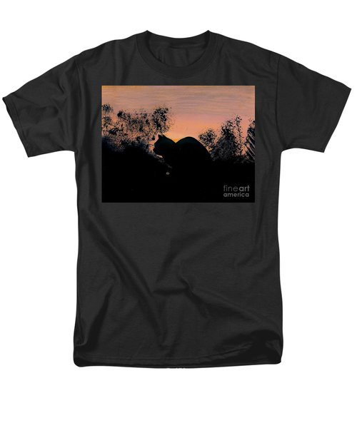 Men's T-Shirt  (Regular Fit) featuring the drawing Cat - Orange - Silhouette by D Hackett
