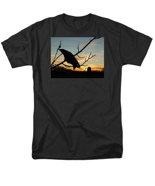 Cawcaw Over Sunset Silhouette Art Men's T-Shirt  (Regular Fit) by Lesa Fine