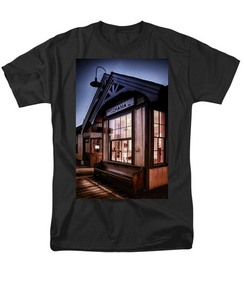 Men's T-Shirt  (Regular Fit) featuring the photograph Chama Train Station by Priscilla Burgers
