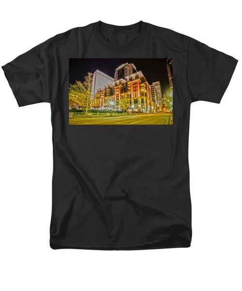 Charlotte City Skyline Night Scene Men's T-Shirt  (Regular Fit) by Alex Grichenko