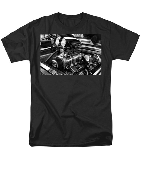 Chevy Supercharger Motor Black And White Men's T-Shirt  (Regular Fit) by Jonathan Davison