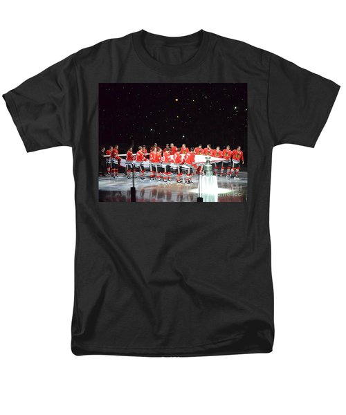 Men's T-Shirt  (Regular Fit) featuring the photograph Chicago Blackhawks And The Banner by Melissa Goodrich