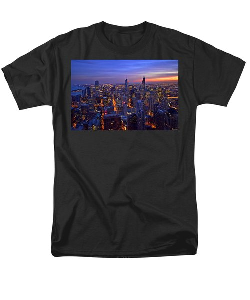 Men's T-Shirt  (Regular Fit) featuring the photograph Chicago Skyline At Dusk From John Hancock Signature Lounge by Jeff at JSJ Photography