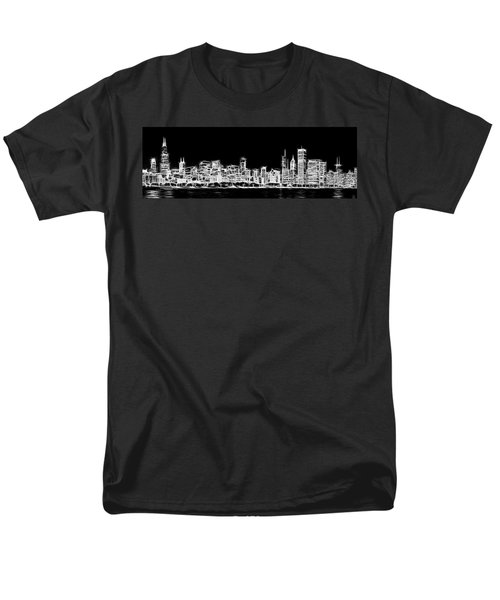 Chicago Skyline Fractal Black And White Men's T-Shirt  (Regular Fit) by Adam Romanowicz