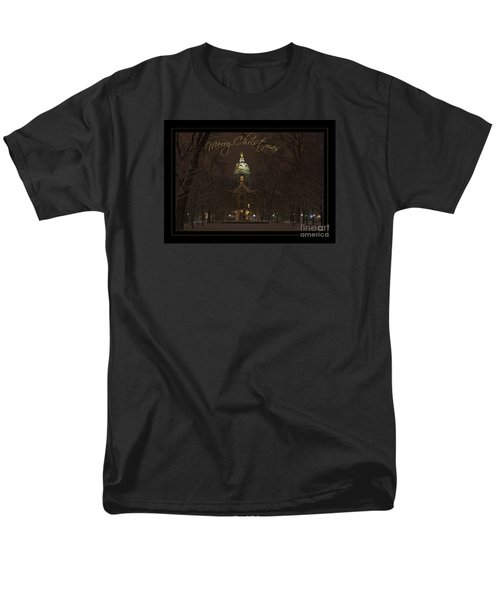 Christmas Greeting Card Notre Dame Golden Dome In Night Sky And Snow Men's T-Shirt  (Regular Fit) by John Stephens