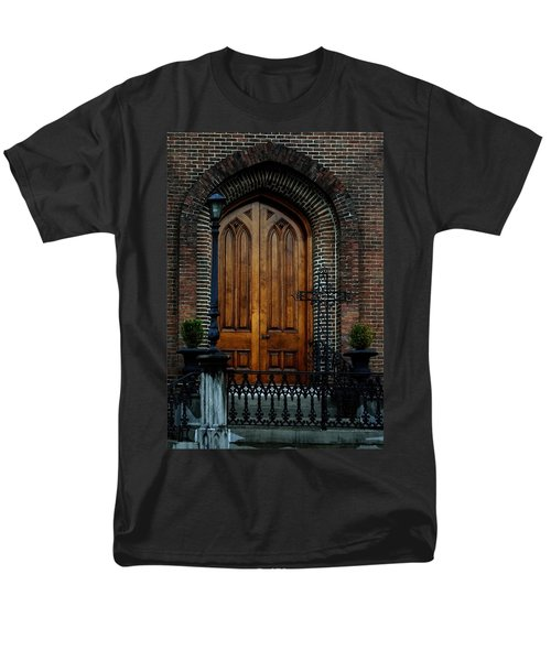 Church Arch And Wooden Door Architecture Men's T-Shirt  (Regular Fit) by Lesa Fine