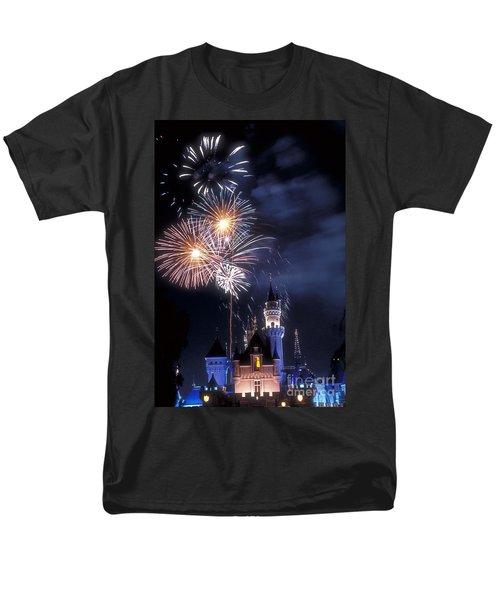 Cinderella Castle Fireworks Iconic Fairy-tale Fortress Fantasyland Men's T-Shirt  (Regular Fit) by David Zanzinger