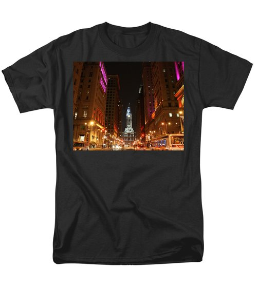 Men's T-Shirt  (Regular Fit) featuring the photograph Philadelphia City Lights by Christopher Woods