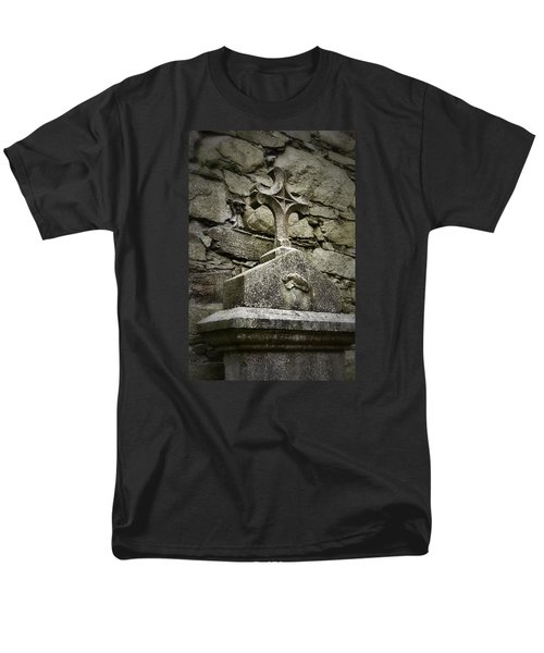Cloister Cross At Jerpoint Abbey Men's T-Shirt  (Regular Fit) by Nadalyn Larsen