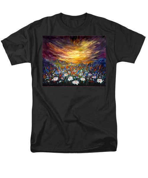 Men's T-Shirt  (Regular Fit) featuring the painting Cloudy Sunset In Valley by Lilia D