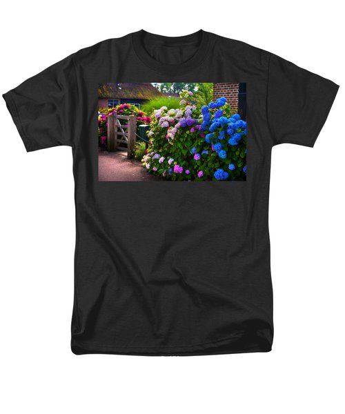 Colorful Hydrangea At The Gate. Giethoorn. Netherlands Men's T-Shirt  (Regular Fit) by Jenny Rainbow