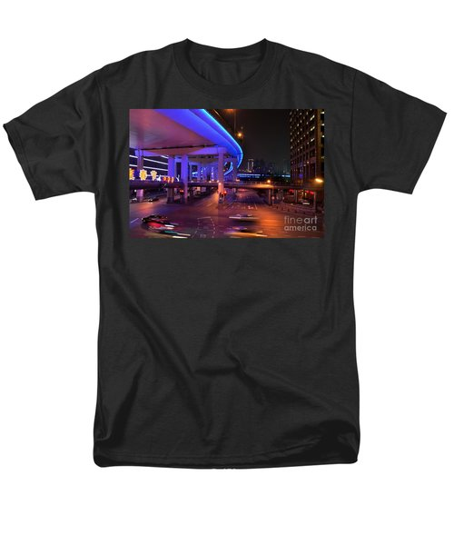 Colorful Night Traffic Scene In Shanghai China Men's T-Shirt  (Regular Fit) by Imran Ahmed