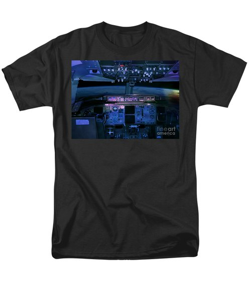 Commercial Airplane Cockpit By Night Men's T-Shirt  (Regular Fit) by Gunter Nezhoda