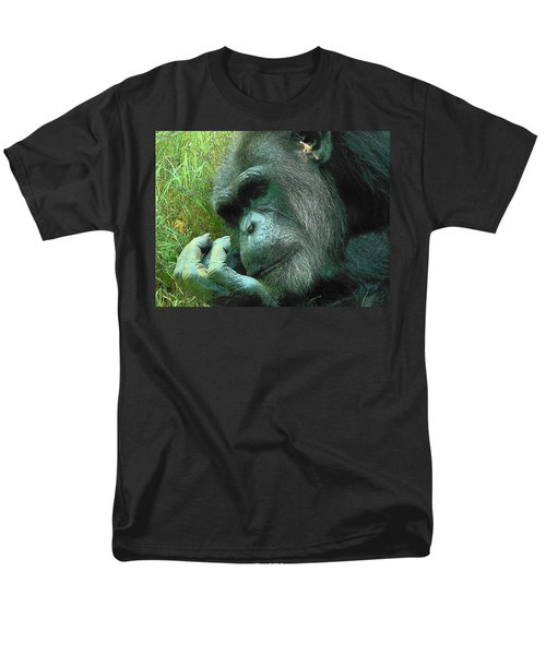 Men's T-Shirt  (Regular Fit) featuring the photograph Contemplative Chimp by Rodney Lee Williams