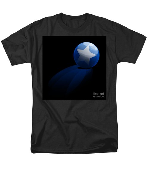 Men's T-Shirt  (Regular Fit) featuring the digital art Blue Ball Decorated With Star Grass Black Background by R Muirhead Art