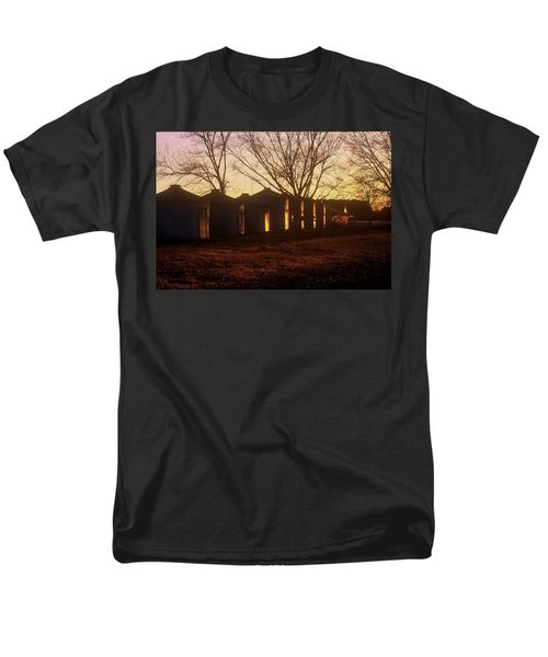 Men's T-Shirt  (Regular Fit) featuring the photograph Corn Cribs At Sunset by Rodney Lee Williams