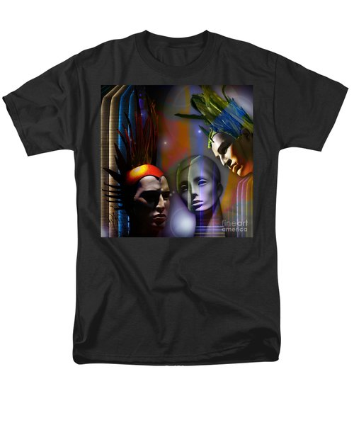 Men's T-Shirt  (Regular Fit) featuring the digital art Cosmic Mannequins Triad by Rosa Cobos