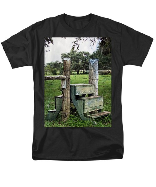 Men's T-Shirt  (Regular Fit) featuring the photograph Country Farm Fence Stile Crossing by Ella Kaye Dickey