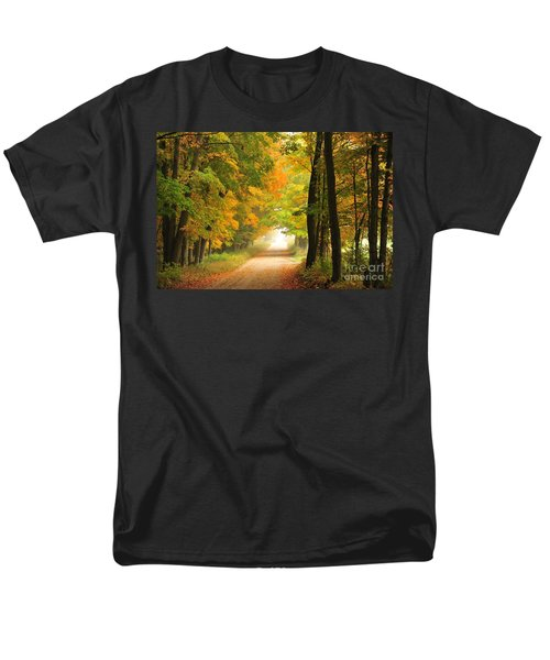 Men's T-Shirt  (Regular Fit) featuring the photograph Country Road In Autumn by Terri Gostola