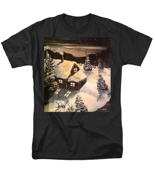 Men's T-Shirt  (Regular Fit) featuring the painting Cozy Cabin by Megan Walsh