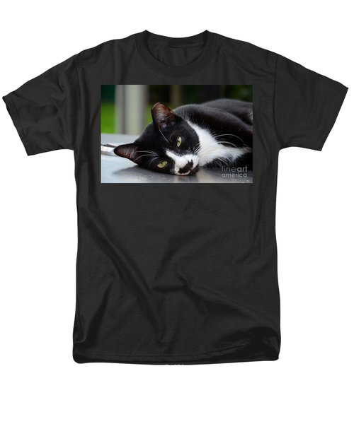 Cute Black And White Tuxedo Cat With Nipped Ear Rests  Men's T-Shirt  (Regular Fit) by Imran Ahmed