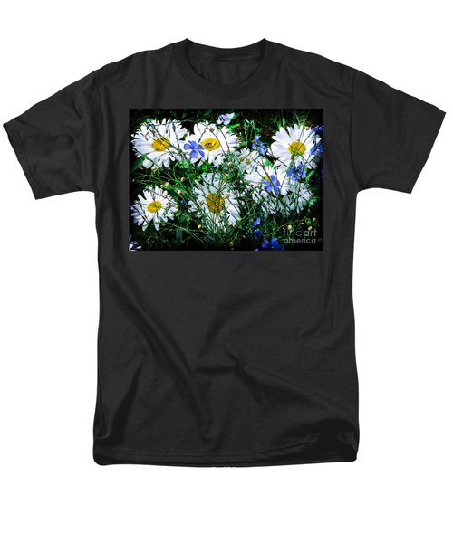 Daisies With Blue Flax And Bee Men's T-Shirt  (Regular Fit) by Roselynne Broussard