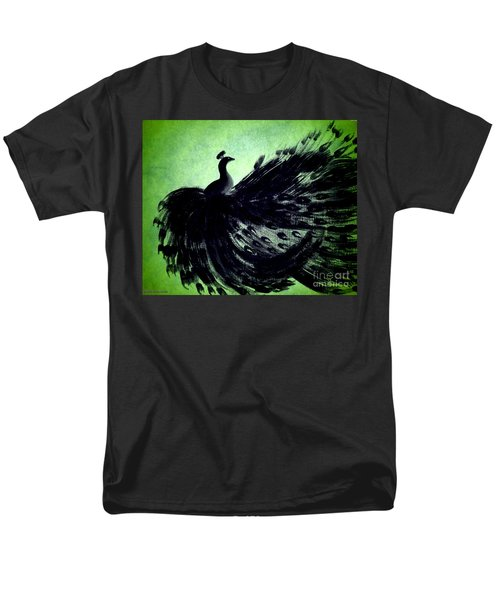 Men's T-Shirt  (Regular Fit) featuring the digital art Dancing Peacock Green by Anita Lewis