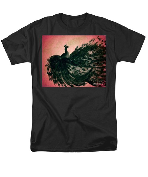 Men's T-Shirt  (Regular Fit) featuring the digital art Dancing Peacock Pink by Anita Lewis