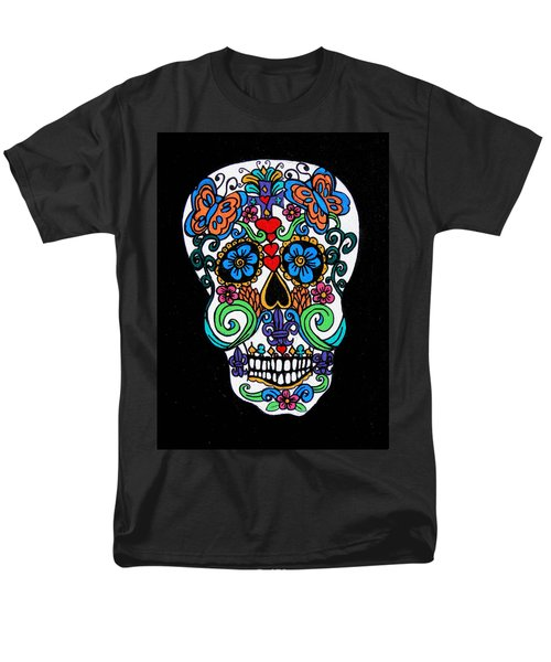 Day Of The Dead Skull Men's T-Shirt  (Regular Fit) by Genevieve Esson
