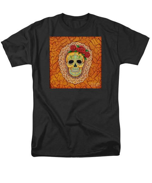 Day Of The Dead With Roses And Lace Men's T-Shirt  (Regular Fit) by Joseph Sonday