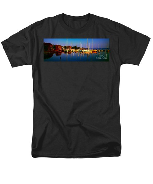 Daytona Beach Florida Inland Waterway Private Boat Yard With Bird   Men's T-Shirt  (Regular Fit) by Tom Jelen