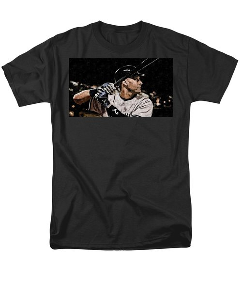 Derek Jeter On Canvas Men's T-Shirt  (Regular Fit) by Florian Rodarte