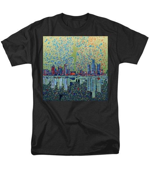 Detroit Skyline Abstract 3 Men's T-Shirt  (Regular Fit) by Bekim Art