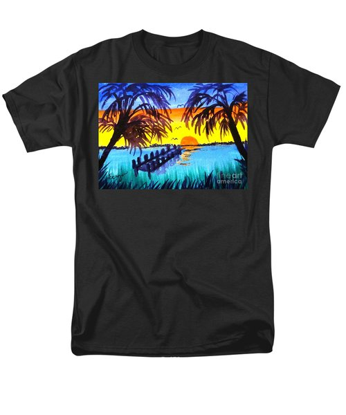 Men's T-Shirt  (Regular Fit) featuring the painting Dock At Sunset by Ecinja Art Works