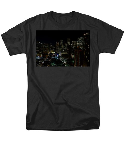Downtown Houston At Night Men's T-Shirt  (Regular Fit) by Judy Vincent
