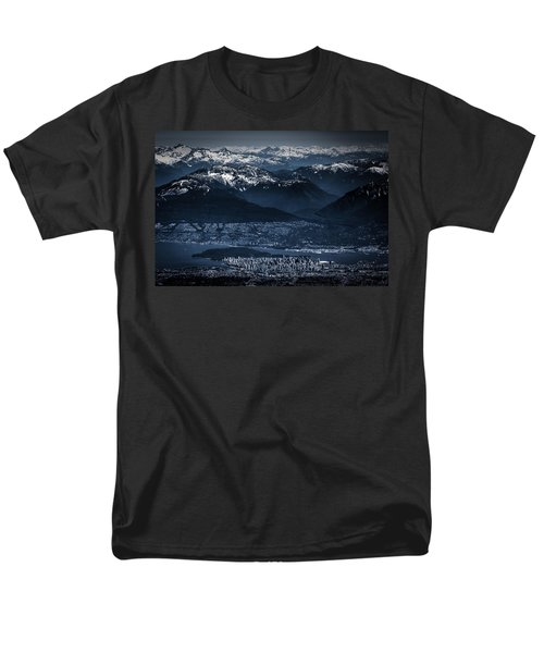 Downtown Vancouver And The Mountains Aerial View Low Key Men's T-Shirt  (Regular Fit) by Eti Reid