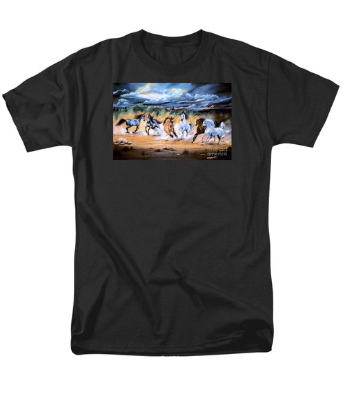 Dream Horse Series 125 - Flat Bottom River Wild Horse Herd Men's T-Shirt  (Regular Fit) by Cheryl Poland