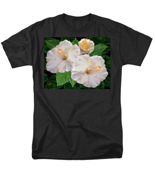 Dreamy Blooms - White Hibiscus Men's T-Shirt  (Regular Fit) by Ben and Raisa Gertsberg