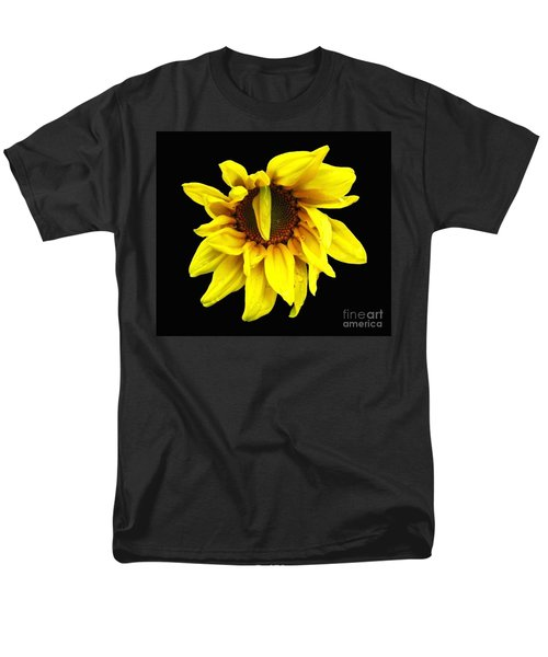 Men's T-Shirt  (Regular Fit) featuring the photograph Droops Sunflower With Oil Painting Effect by Rose Santuci-Sofranko