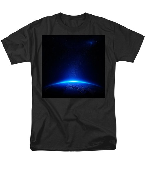 Earth At Night With City Lights Men's T-Shirt  (Regular Fit) by Johan Swanepoel