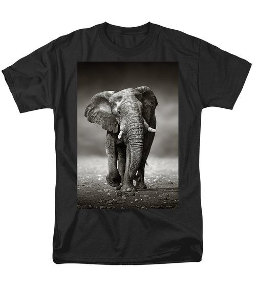 Elephant Approach From The Front Men's T-Shirt  (Regular Fit) by Johan Swanepoel
