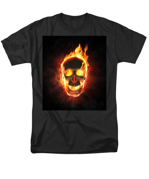 Evil Skull In Flames And Smoke Men's T-Shirt  (Regular Fit) by Johan Swanepoel