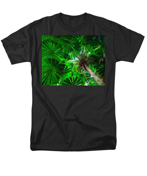 Men's T-Shirt  (Regular Fit) featuring the photograph Fan Palm Tree Of The Rainforest by Peta Thames