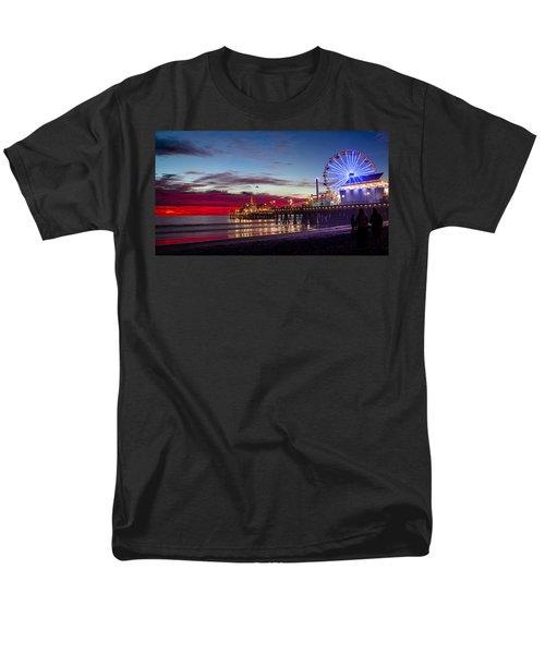 Ferris Wheel On The Santa Monica California Pier At Sunset Fine Art Photography Print Men's T-Shirt  (Regular Fit) by Jerry Cowart